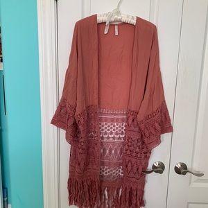 Coral colored Fringe and Crochet Kimono - boho